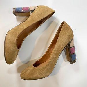 Nina | Tan Block Multicolor Heels Size 6